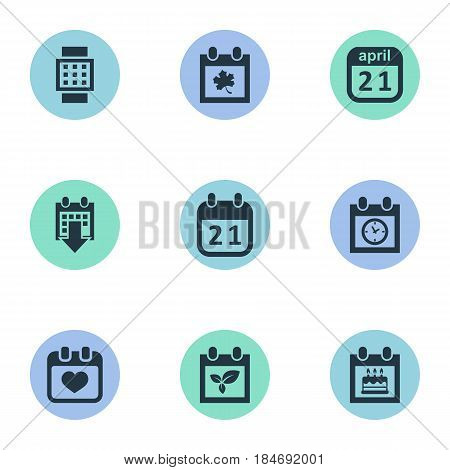 Vector Illustration Set Of Simple Calendar Icons. Elements Remembrance, History, Plant And Other Synonyms Almanac, Heart And Autumn.