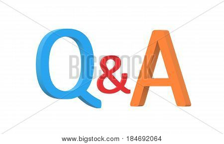 Questions and answers concept Q and A text isolated white background. 3D rendering. 3d q and a sign.