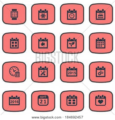 Vector Illustration Set Of Simple Calendar Icons. Elements Renovation Tools, Almanac, Deadline And Other Synonyms Block, Watch And Heart.