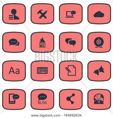 Vector Illustration Set Of Simple User Icons. Elements Cedilla, International Businessman, Gazette And Other Synonyms Pen, Earnings And Argument.