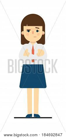 Sceptical young woman with hands crossed gesture isolated on white background vector illustration. Beautiful pretty school girl in blouse and skirt in flat design.