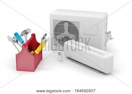 3d air conditioner, maintenance and repairing on white background