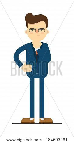 Skeptical businessman isolated on white background vector illustration. Standing man in blue business suit in flat design.