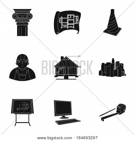 A set of icons on the theme of construction and architects. Builders, architects, and subjects for construction . Architect icon in set collection on black style vector symbol stock web illustration.
