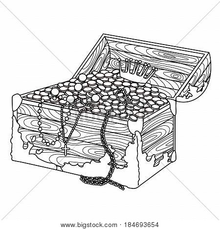High detail illustration of a death mans chest in the zentangle style. Adult antistress coloring page. Colouring book for grown ups or children. Vector illustration