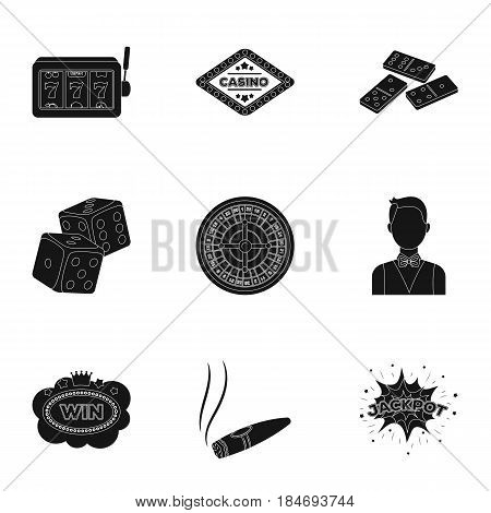 The set of symbols casino games. Gambling for money. Chips, dominoes, casino. Casino and gambling icon in set collection on black style vector symbol stock web illustration.