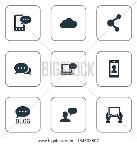 Vector Illustration Set Of Simple User Icons. Elements Argument, Site, Profile And Other Synonyms Forum, Notepad And Laptop.