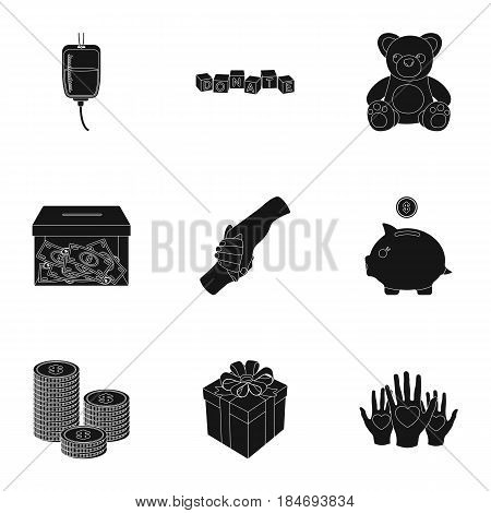 Charitable Foundation. Icons on helping people and donation.Charity and donation icon in set collection on black style vector symbol stock web illustration.