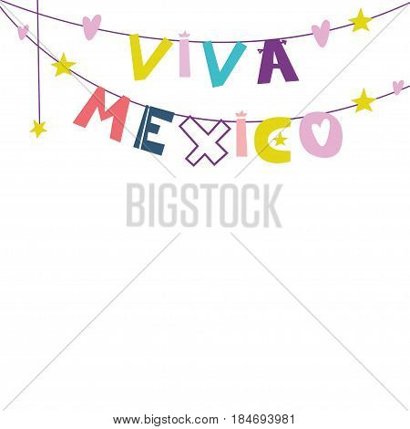 Viva Mexico. Cute cartoon lettering. Flat illustration isolate on white background. Print for the Mexican holiday and celebration of festivals. Vector illustration
