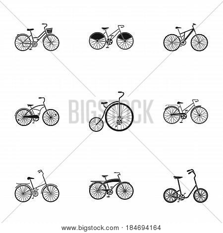 Collection of bikes with different wheels and frames. Different bikes for sport and walks.Different bicycle icon in set collection on black style vector symbol stock web illustration.