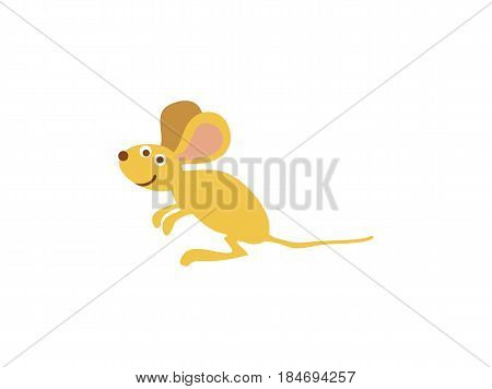 Funny field mouse personage vector illustration isolated on white background. Cute wild animal, wildlife character in cartoon style.