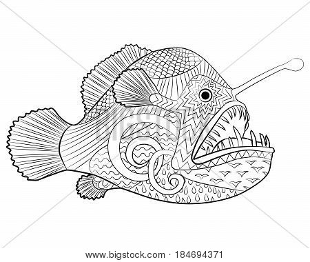 Hand drawn creepy fish with high details for anti stress coloring page, illustration of a monkfish in tracery style. Sketch of angelfish for tattoo, poster, print, t-shirt in zentangle style. Vector.