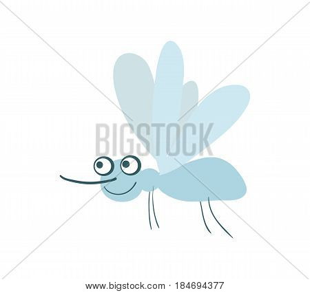 Funny mosquito vector illustration isolated on white background. Cute insect, comic bug, smiling wildlife character in cartoon style.