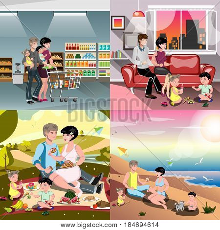 Vector set of family situations, going for shopping, family with babies, couple on picnic, family on beach