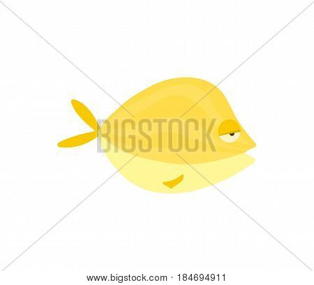 Yellow reef fish vector illustration isolated on white background. Cute ocean creature, comic aquarium animal, marine wildlife character in cartoon style.