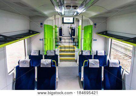 Interior of the polish diesel train PESA 730M (DP3) of the Belorussian railway. Minsk. November 2014