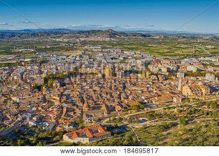 Historic town of Xativa Aerial townscape in Valencia Region, Spain