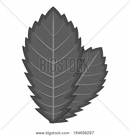 Elm leaf icon in monochrome style isolated on white background vector illustration