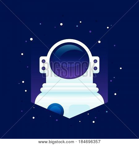 Flat astronaut portrait in deep space in space suit helmet and stars. Modern dimensional vector illustration. Perfect for print t-shirt design wallpapers apparel and web design as logo or icon.