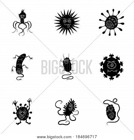A set of pictures about bacteria and viruses. Germs that are harmful to humans. viruses and bacteria icon in set collection on black style vector symbol stock web illustration.