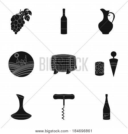 Wine products. Growing grapes, wine.Vine production icon in set collection on black style vector symbol stock web illustration.