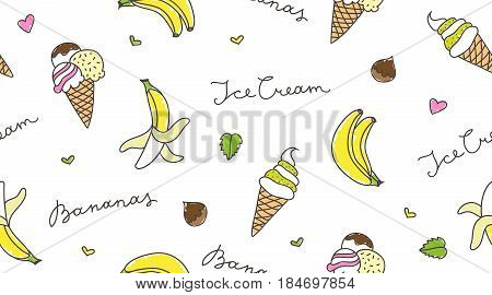 banana and ice cream, vector summer seamless pattern