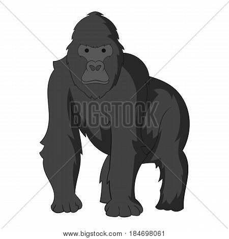Gorilla icon in monochrome style isolated on white background vector illustration