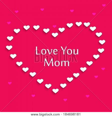 Illustration of heart on red background with love you mom text
