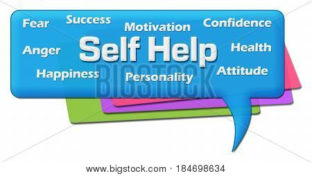Self help concept image with text and related word cloud over colorful background.