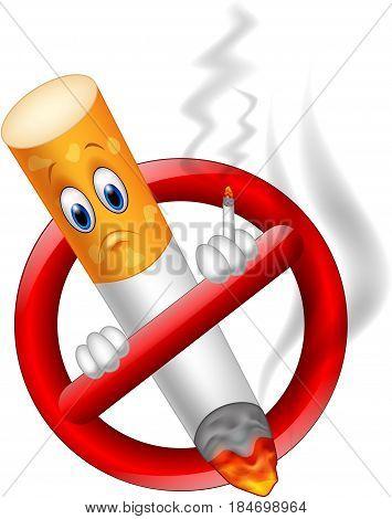 Vector illustration of No smoking cartoon symbol