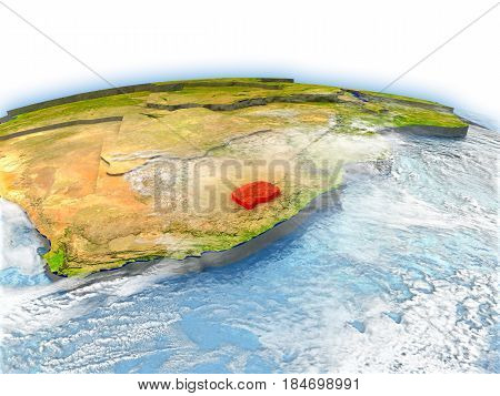 Lesotho On Globe