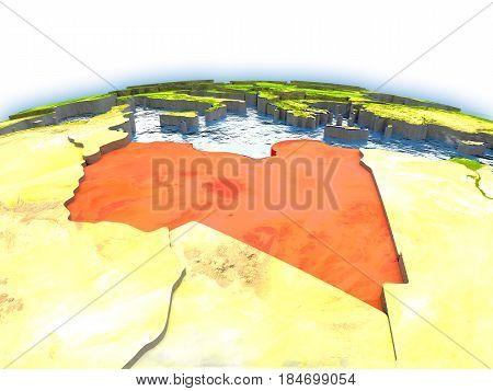 Libya On Globe