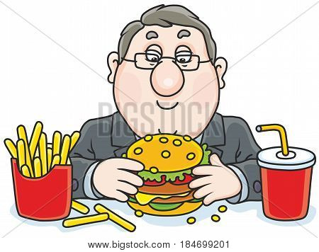 Chubby man with a big appetizing hamburger, French fries and juice