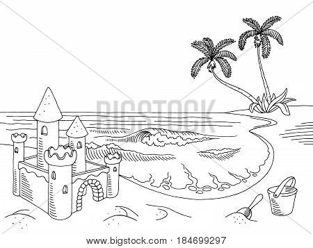 Sea coast graphic sand castle black white landscape sketch illustration vector