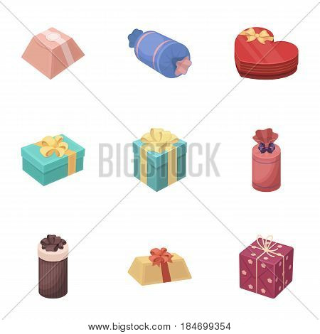 A set of pictures gifts. Gifts for different holidays, surprises. Gift packaging.Gifts and cert icon in set collection on cartoon style vector symbol stock web illustration.