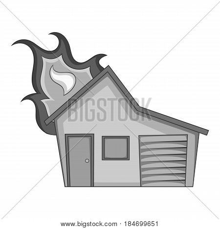 House on fire icon in monochrome style isolated on white background vector illustration