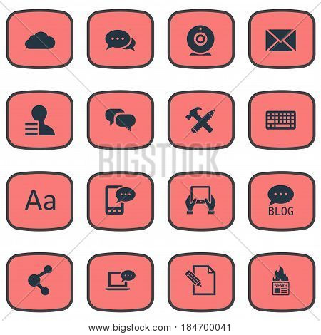 Vector Illustration Set Of Simple Newspaper Icons. Elements Broadcast, Site, Gazette And Other Synonyms Repair, Web And Keyboard.