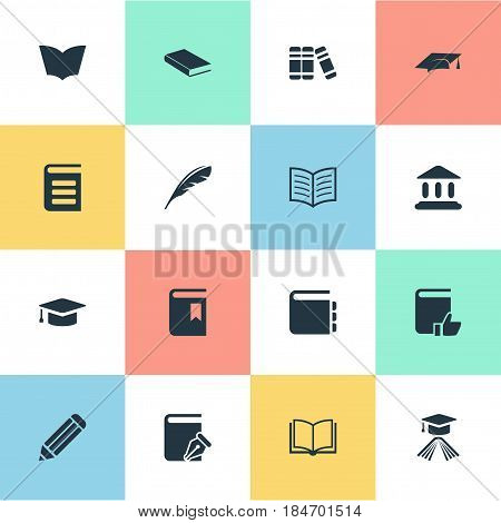 Vector Illustration Set Of Simple Books Icons. Elements Graduation Hat, Sketchbook, Library And Other Synonyms Favored, Library And Quill.
