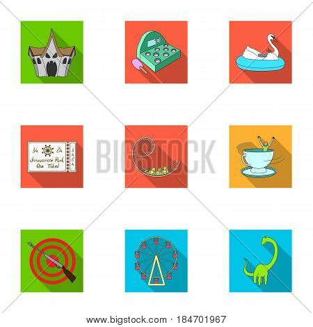 The amusement Park rides. The attributes of a recreational Park, panic room, cotton candy.Amusement Park icon in set collection on flat style vector symbol stock web illustration.