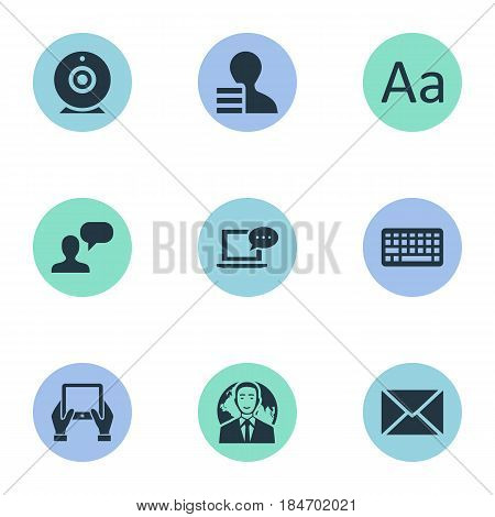 Vector Illustration Set Of Simple Blogging Icons. Elements Man Considering, Cedilla, Post And Other Synonyms Keyboard, Tablet And Earnings.