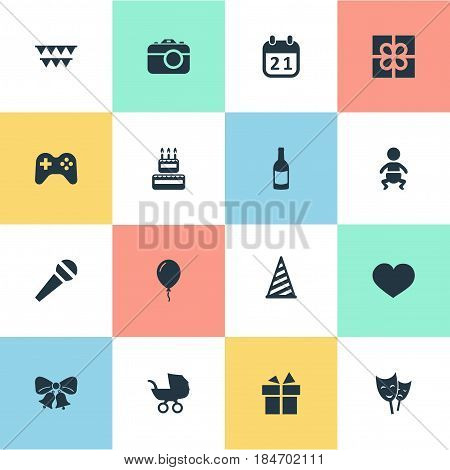 Vector Illustration Set Of Simple Celebration Icons. Elements Resonate, Mask, Cap And Other Synonyms Flags, Photo And Champagne.