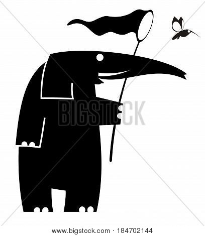 Cartoon elephant trying to catch a bird using butterfly net