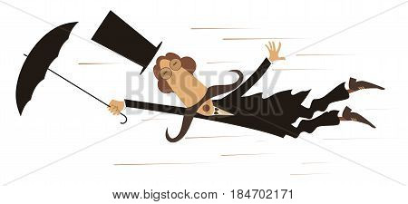 Windy day. Funny mustached man in the top hat caught up by the wind flies holding umbrella