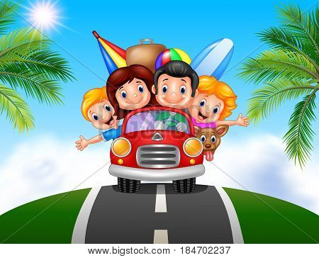 Vector illustration of Cartoon family vacation on white background