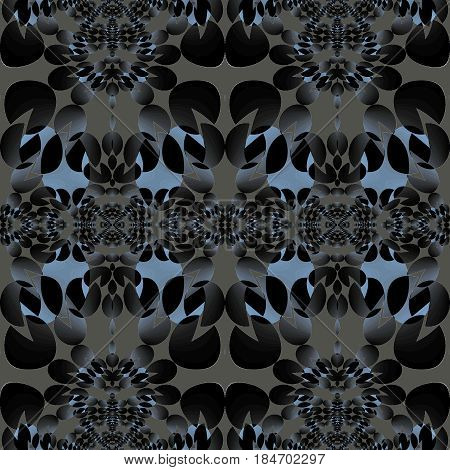 Abstract geometric seamless background. Regular ellipses ornaments in blue gray shades on light gray.