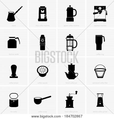 Set of sixteen coffee utensils ( shade pictures )