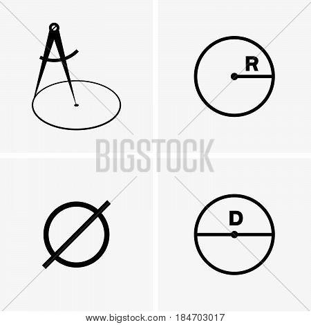 Set of four pictures of radius and diameter
