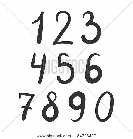 Bold simple number font hand drawn isolated