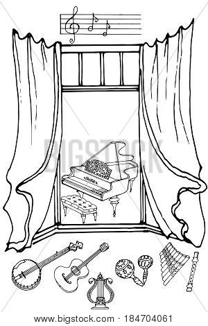 outline a set of musical instruments piano, harp, lyre, guitar, banjo, maracas, fife, flute, color black in white background vector