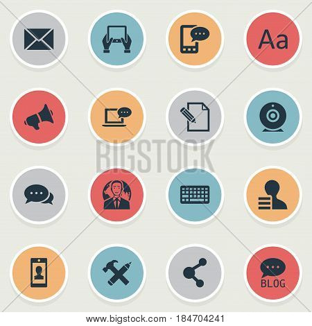 Vector Illustration Set Of Simple Blogging Icons. Elements Argument, Site, Broadcast And Other Synonyms Keyboard, International And Missive.